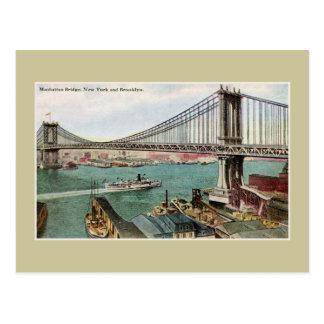 Vintage Manhattan Bridge, Hudson, Brooklyn NYC Postcard