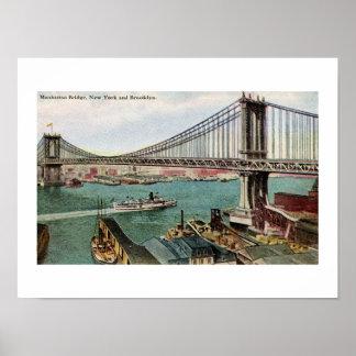 Vintage Manhattan Bridge, Hudson, Brooklyn NYC Poster