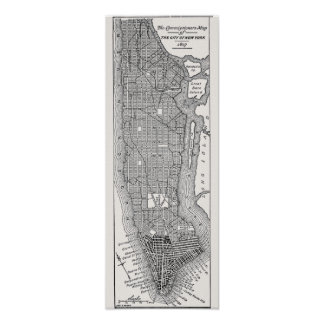 Vintage Manhattan Map Print