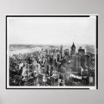 Vintage Manhattan meridional Nueva York NY 1913 Poster