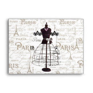 Vintage mannequin French typo Paris Eiffel Tower Envelope