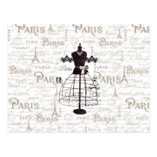 Vintage mannequin French typo Paris Eiffel Tower Postcard