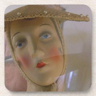 Vintage Mannequin Head Drink Coasters