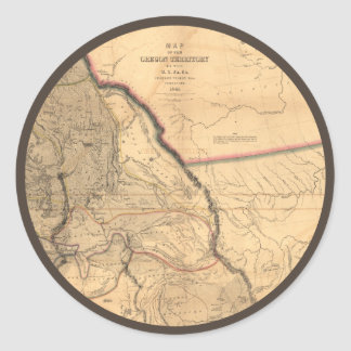Vintage Map - 1841 Pacific NW | Oregon Territory Classic Round Sticker