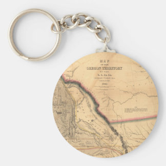 Vintage Map - 1841 Pacific NW | Oregon Territory Keychain