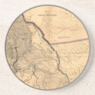 Vintage Map - 1841 Pacific NW | Oregon Territory Sandstone Coaster