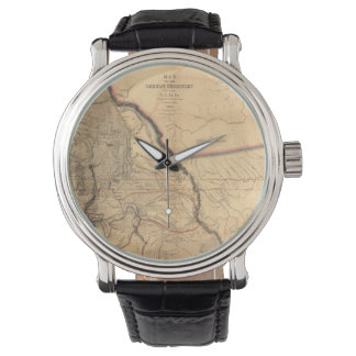 Vintage Map - 1841 Pacific NW | Oregon Territory Wrist Watches