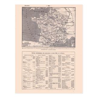 Vintage map, 1920,  France, departements and Kings Postcard