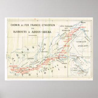 Vintage map, 1920, French, Chemin de Fer, Ethiopie Poster
