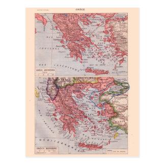 Vintage map, 1920,  Greece Postcard