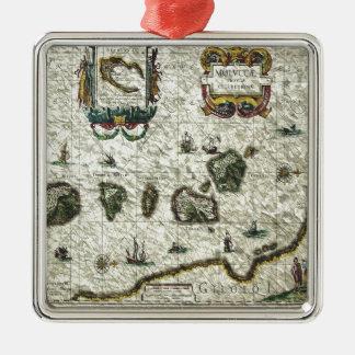 vintage map 1 metal ornament