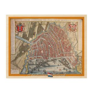 Vintage Map Amsterdam Holland Wood Prints
