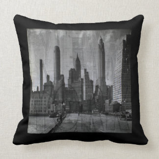 Vintage Map and Retro Photo of New York City Throw Pillow