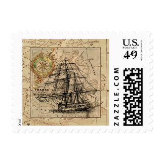 Vintage Map and Ship Art Retro Stamp