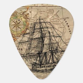 Vintage Map And Ship Guitar Pick by KraftyKays at Zazzle