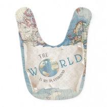 Vintage Map Baby Bib