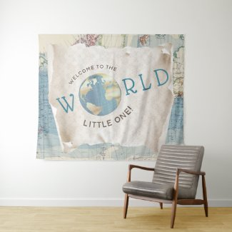 Vintage Map Baby Shower Backdrop