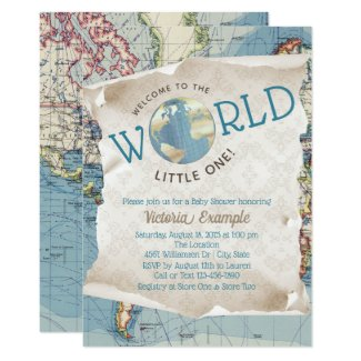 Vintage Map Baby Shower Invitations