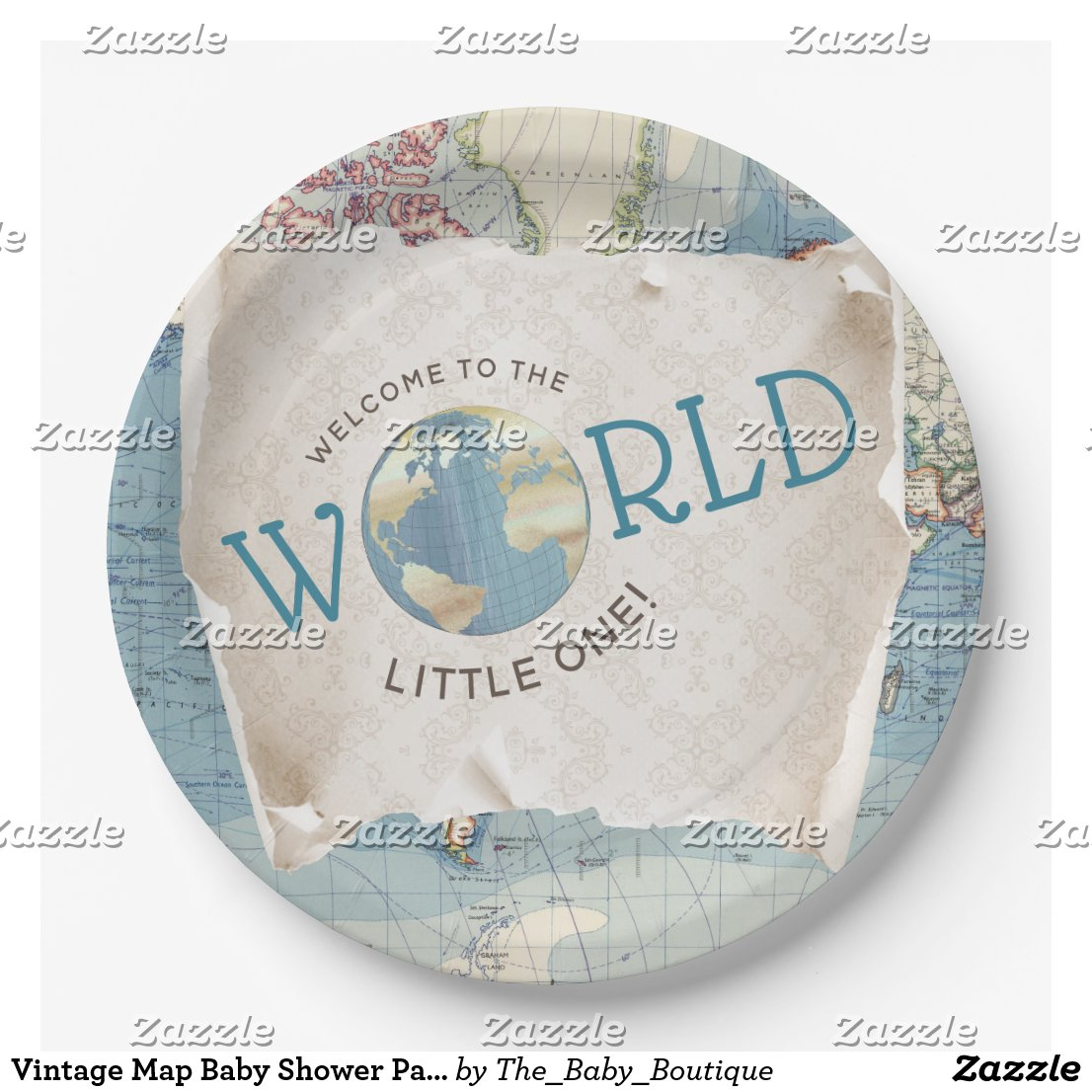 Vintage Map Baby Shower Paper Plates