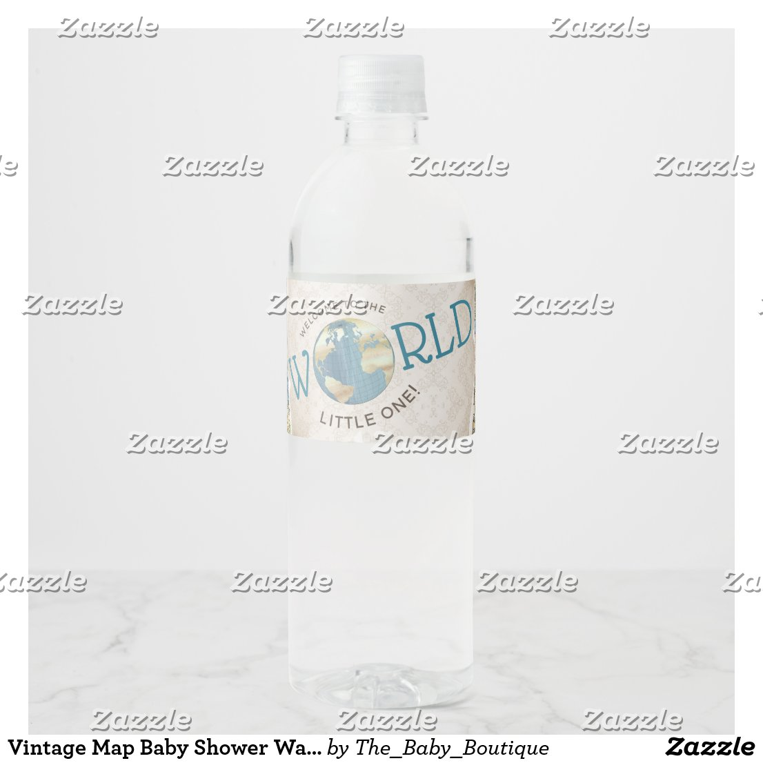 Vintage Map Baby Shower Water Bottle Labels