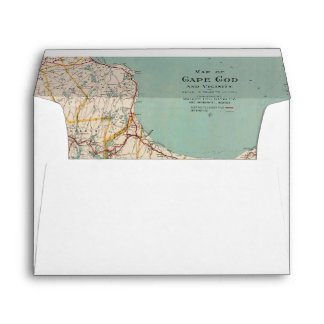 Vintage Map Cape Cod Travel Adventure Lined Envelope