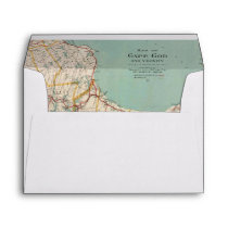 Vintage Map Cape Cod Travel Adventure Lined Envelope