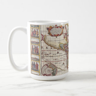 Vintage Map & Characters Claes Janszoon Visscher Coffee Mug