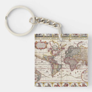 Vintage Map & Characters Claes Janszoon Visscher Double-Sided Square Acrylic Keychain