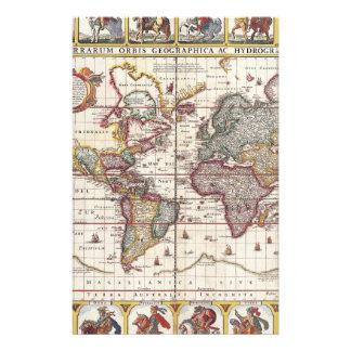 Vintage Map & Characters Claes Janszoon Visscher Flyer