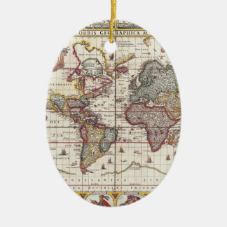 Vintage Map & Characters Claes Janszoon Visscher Double-Sided Oval Ceramic Christmas Ornament