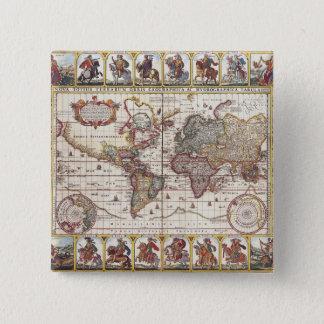 Vintage Map & Characters Claes Janszoon Visscher Pinback Button