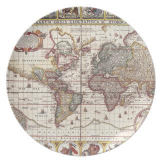Vintage Map & Characters Claes Janszoon Visscher Plate