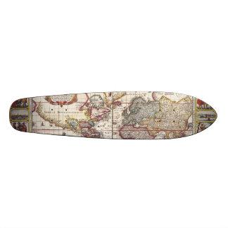 Vintage Map & Characters Claes Janszoon Visscher Skateboard Deck