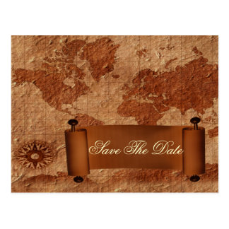 vintage map destination wedding save the date post cards