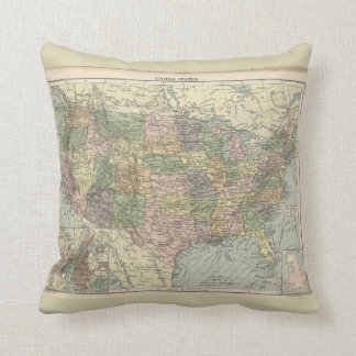 Vintage Map Geography 1886 Polyester Throw Pillow