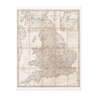 Vintage Map Great Britain 1790 Canvas Print