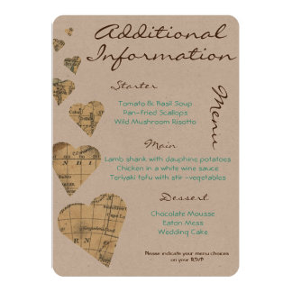 Vintage Map Hearts Additional Information Card