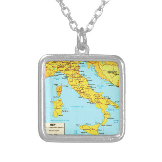 Vintage Map Italy Pendant Necklace