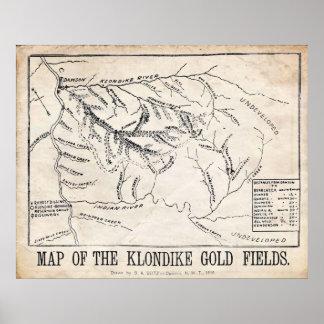 Vintage Map - Klondike - Dawson Gold Fields 1898 Print