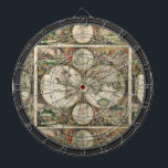 "Vintage Map Multi-Target Dartboard<br><div class=""desc"">A fun unique multi-target dartboard centered around a vintage map for traditional games,  new ones of your own,  or as a bold stand-out art piece. Features an old world map surrounded by people and noblemen. Fully customizable if desired to add names,  images,  and more. Enjoy!</div>"