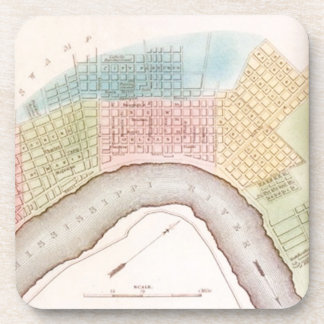 Vintage Map New Orleans Louisiana LA Pastels Gift Coasters