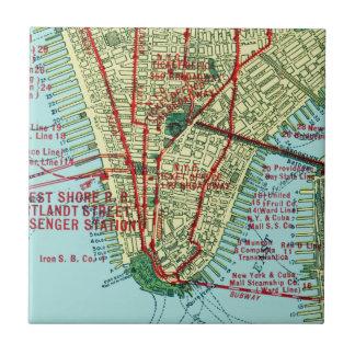Vintage Map New York Lower Manhattan Ceramic Tile