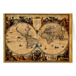 Vintage Map Nova totius terrarum 1625 Greeting Card