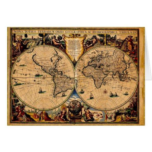 Vintage Map Nova totius terrarum 1625 Card