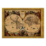 Vintage Map Nova totius terrarum 1625 Poster