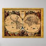 Vintage Map Nova totius terrarum 1625 Print