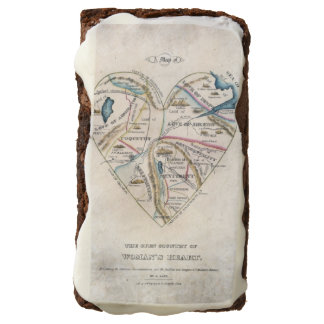 vintage map of a woman's heart chocolate brownie
