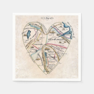 vintage map of a woman's heart napkin