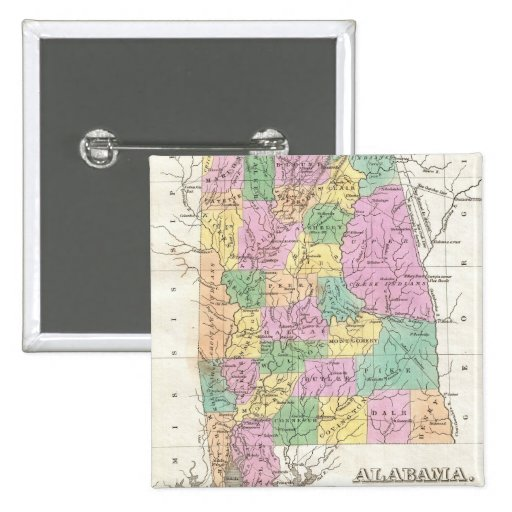 Vintage Map of Alabama (1827) Pinback Buttons
