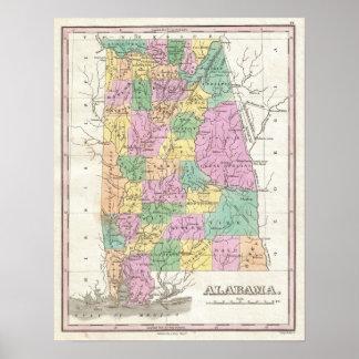 Vintage Map of Alabama (1827) Poster